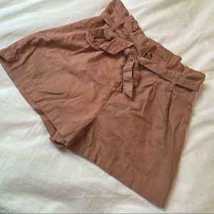 High Waisted Linen Paperbag Shorts